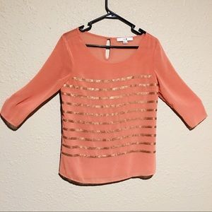 Forever 21 salmon pink sequin top